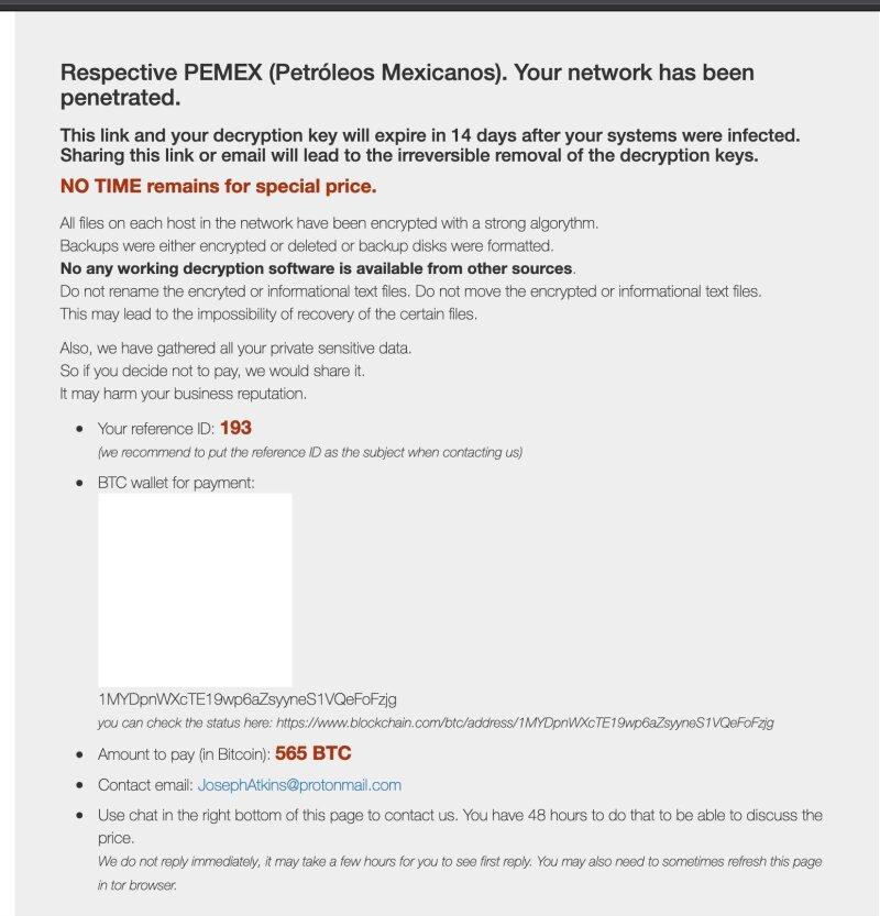 ventana ransomware pemex