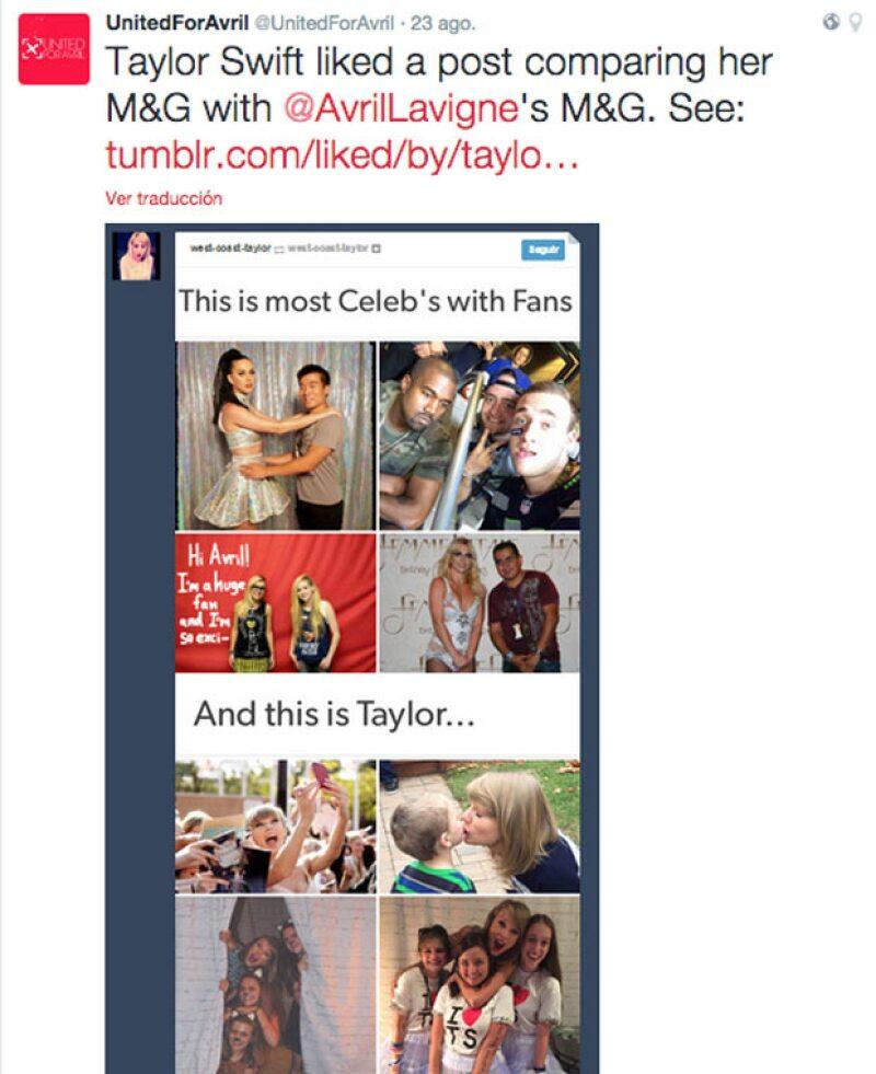 Este fue el tuit detonante de la molestia de Avril hacia la actitud de Taylor.