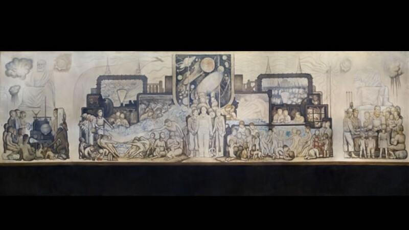 boceto del mural el hombre en la encrucijada