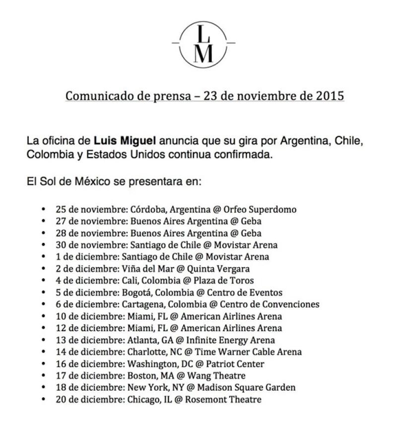 Estas son las fechas de las próximas fechas de Luis Miguel.