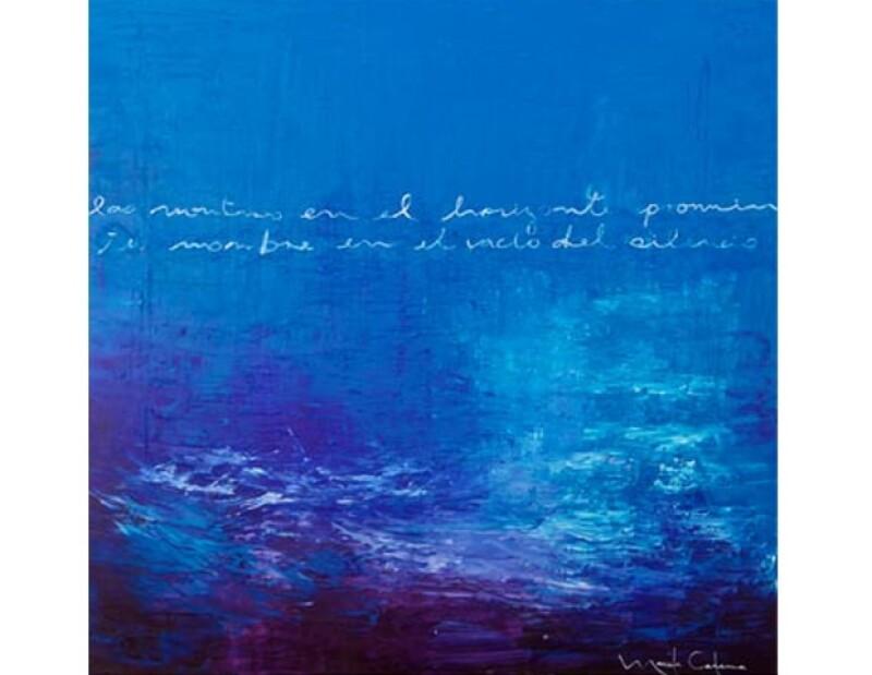 En las obras de Cadena destacan las texturas y el colorido. Su tono preferido es el azul porque la remite al mar, su mayor inspiración.