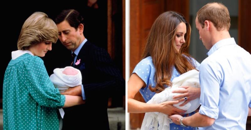 Tanto el príncipe Charles como el príncipe William sostuvieron a sus primogénitos a su salida del hospital.