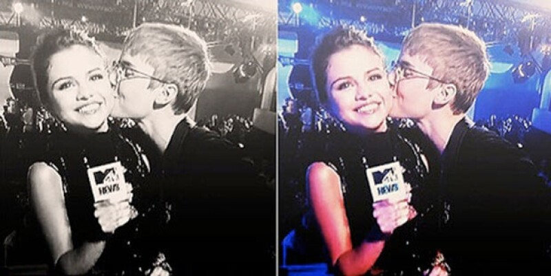 Justin Bieber sorprendió a su novia al tratar de besarla.