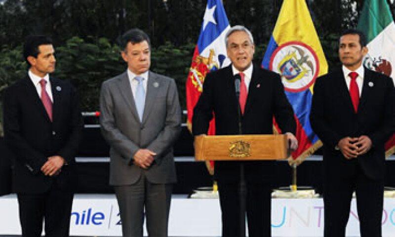 Los mandatarios de México, Colombia, Chile y Perú en la conferencia de prensa donde hicieron el anuncio. (Foto: Reuters)