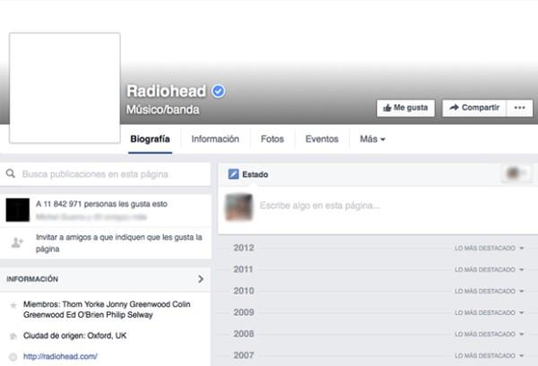 Así luce la fan page de Radiohead.
