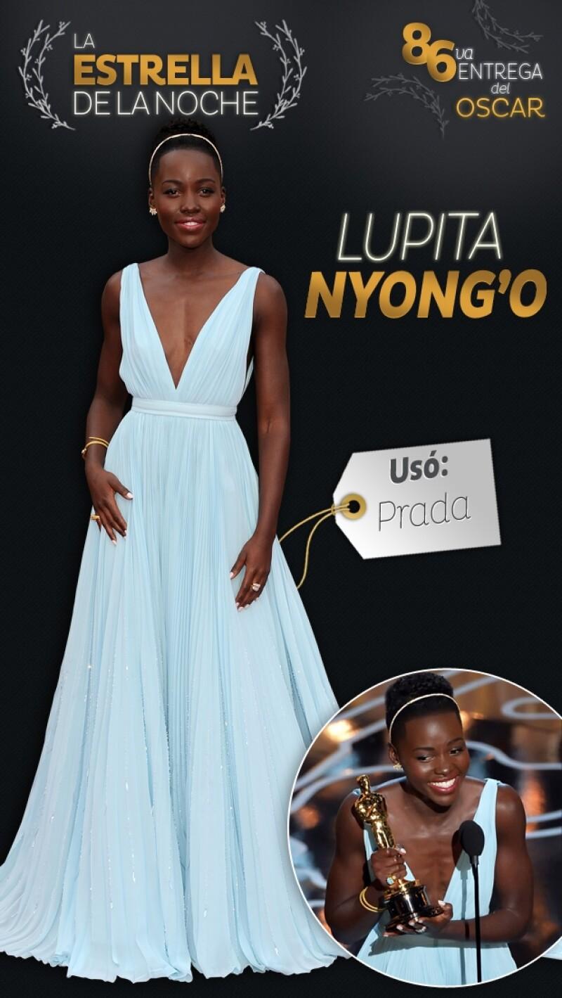 Además de ser una de las estrellas que brilló más fuerte en la alfombra roja, la actriz nacida en México y criada en Kenia se llevó el galardón a Mejor Actriz de Reparto.
