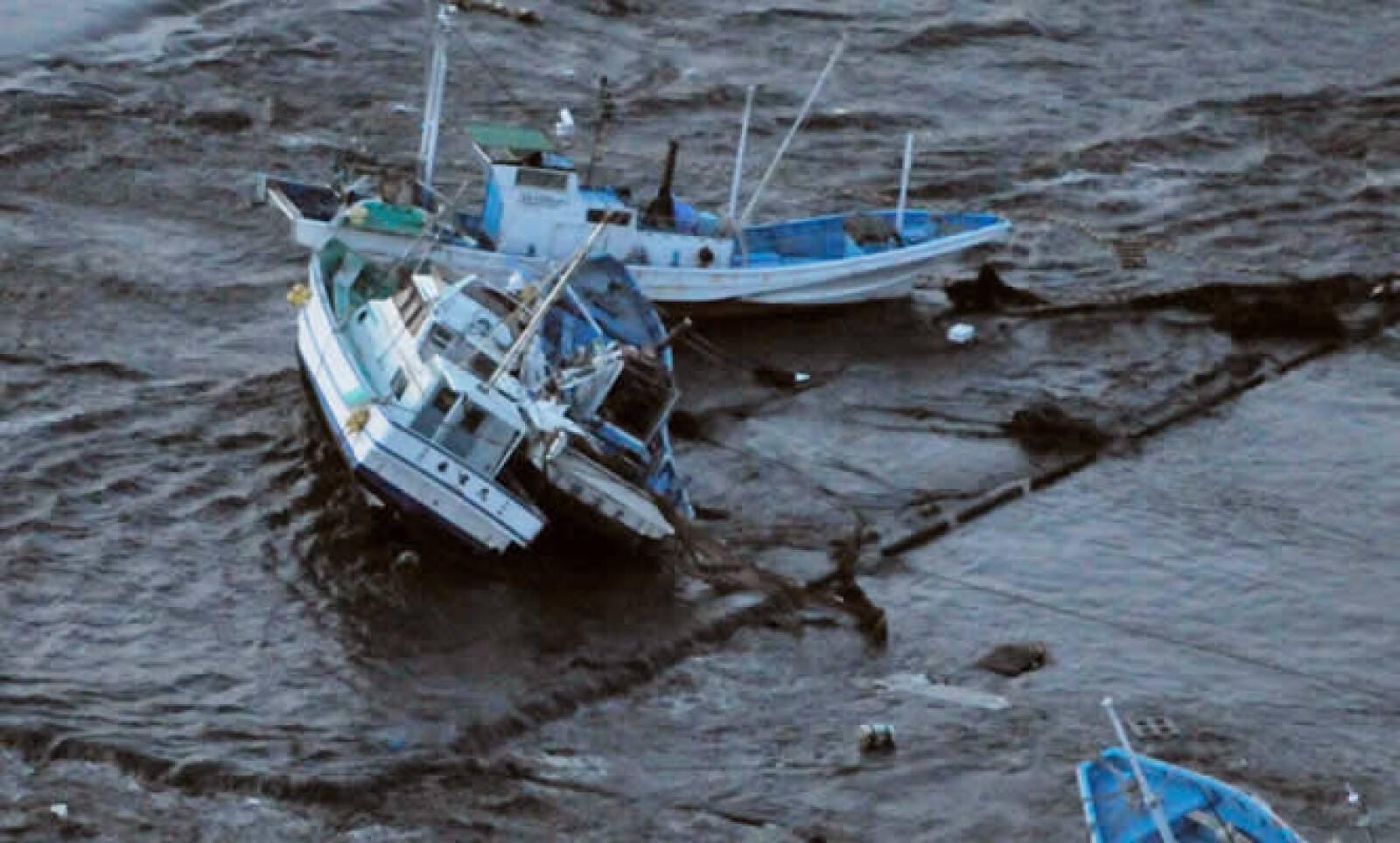 Varios botes de pescadores fueron destruidos por el tsunami, en la ciudad de Oarai, en la provincia de Ibaragi.