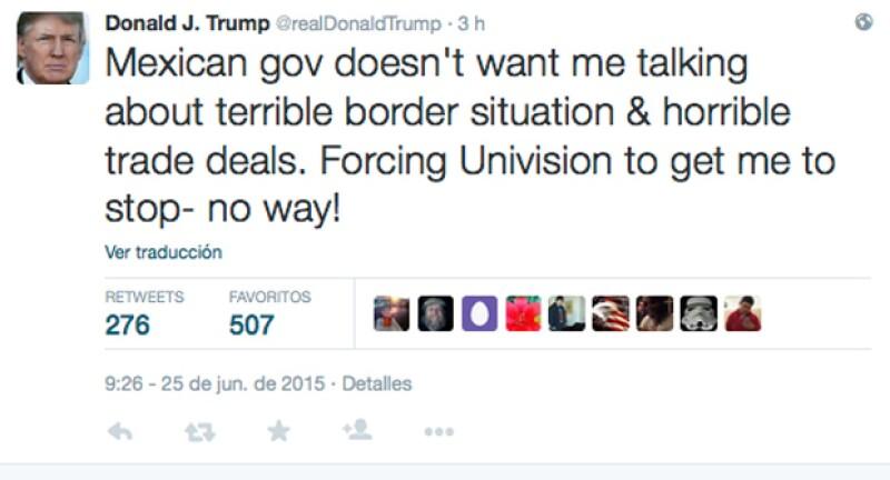 El empresario estadounidense acusó al gobierno mexicano de forzar a Univisión a terminar cualquier acuerdo comercial con él.