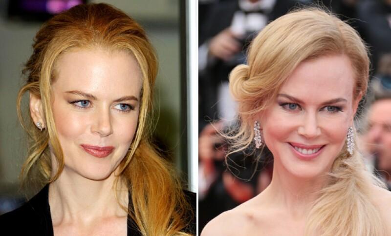 Así lucía Nicole Kidman en 2001 y así posó para las cámaras el Festival de Cannes del 2014.