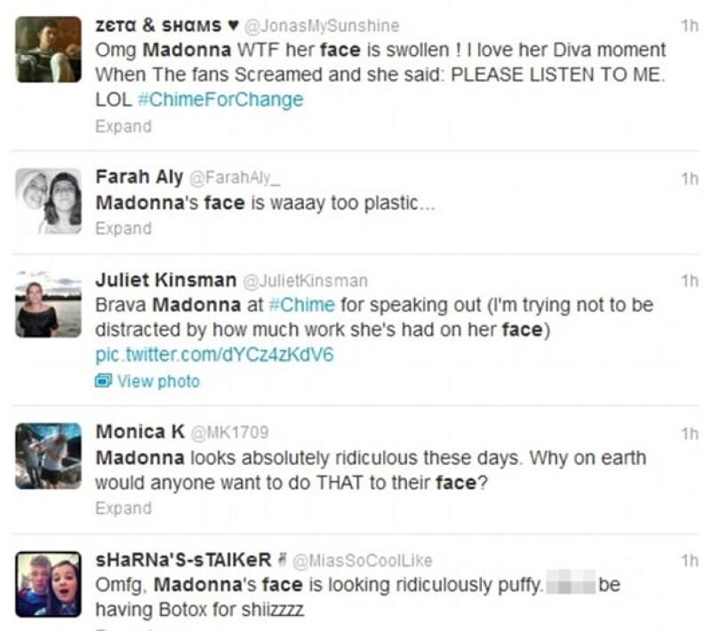"""Durante el concierto de caridad """"The Sound of Change"""" en Londres, la reina del pop dio un discurso revolucionario, mientras tanto, los presentes comentaban en Twitter su hinchada apariencia."""