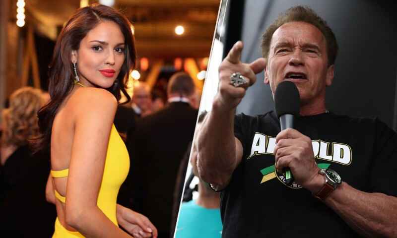 Eiza González y Arnold Schwarzenegger