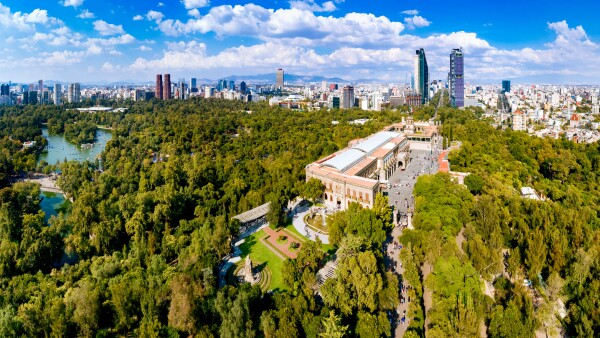 Aerial View of Mexico City skyline from Chapultepec Park