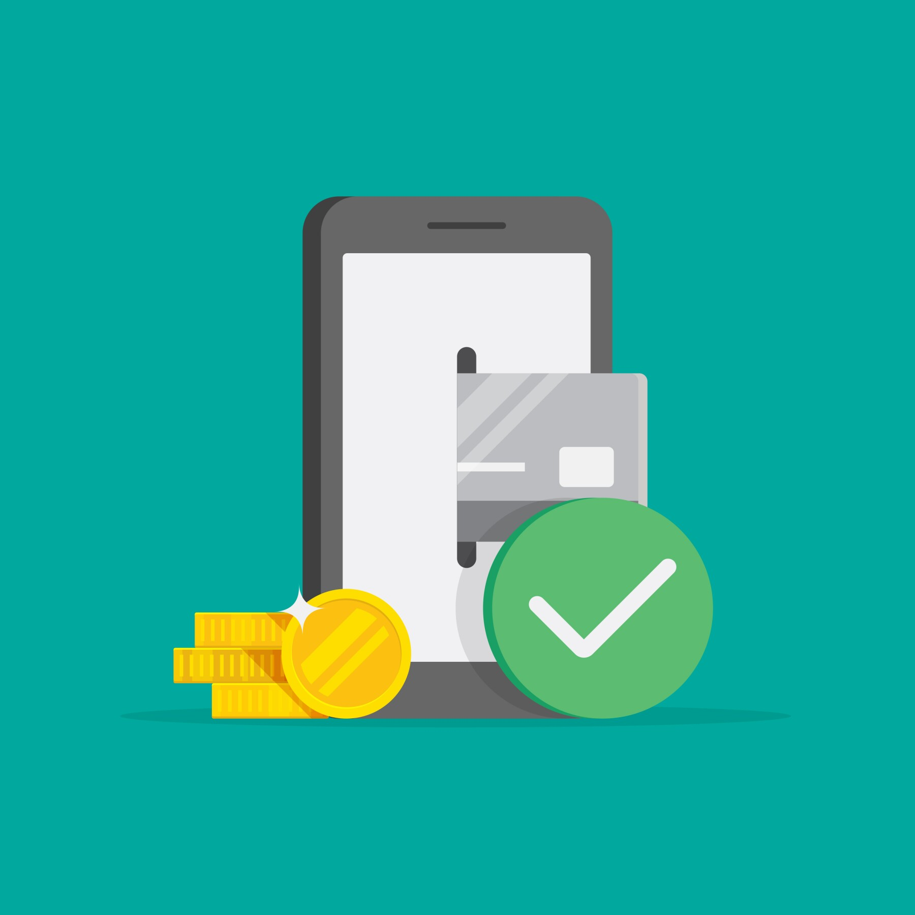 Mobile Payment Vector Illustration and Flat Design.
