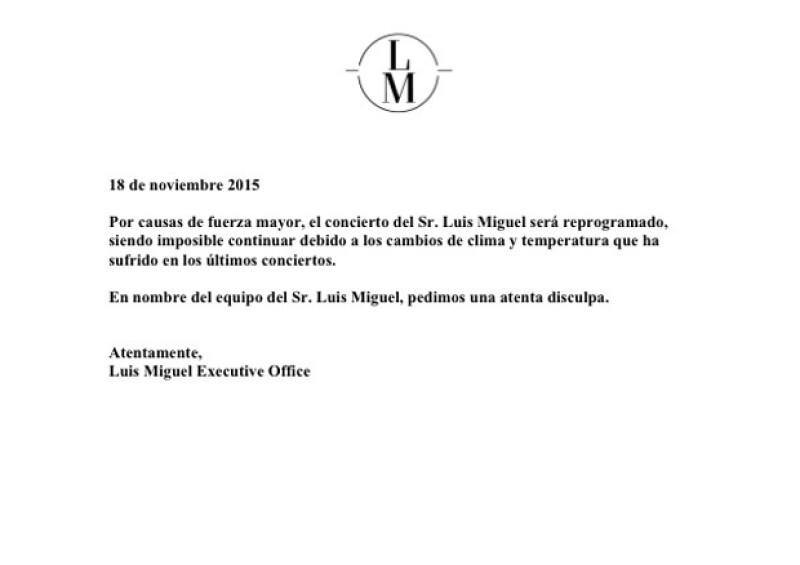 Este es el comunicado oficial que envió la oficina de Luis Miguel explicando lo sucedido.