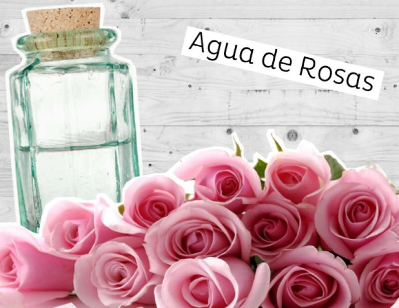 Agua de rosas para la piel.