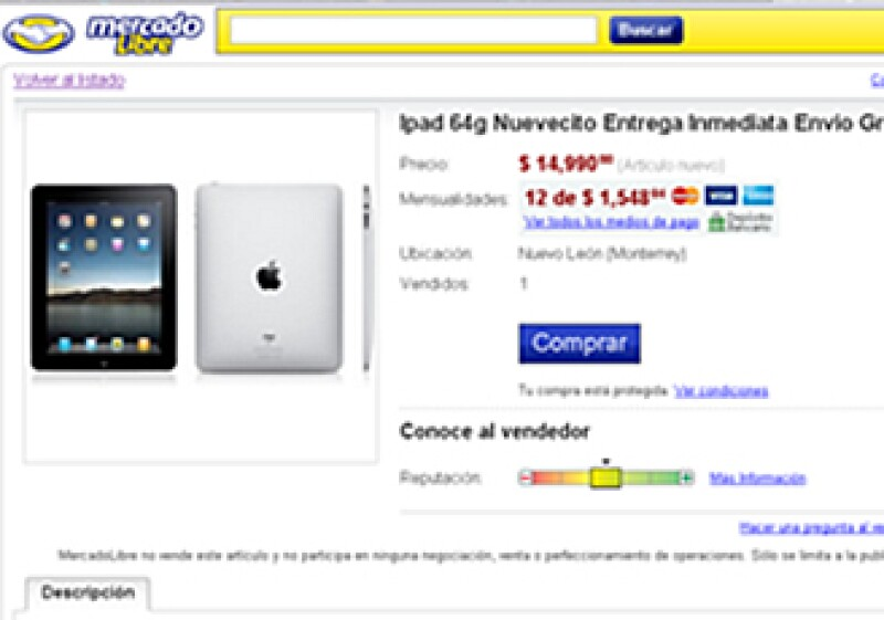 El iPad se muestra en diversas ofertas hasta en 14,990 pesos en su versión de 64gb.  (Foto: Cortesía Mercado Libre.com )
