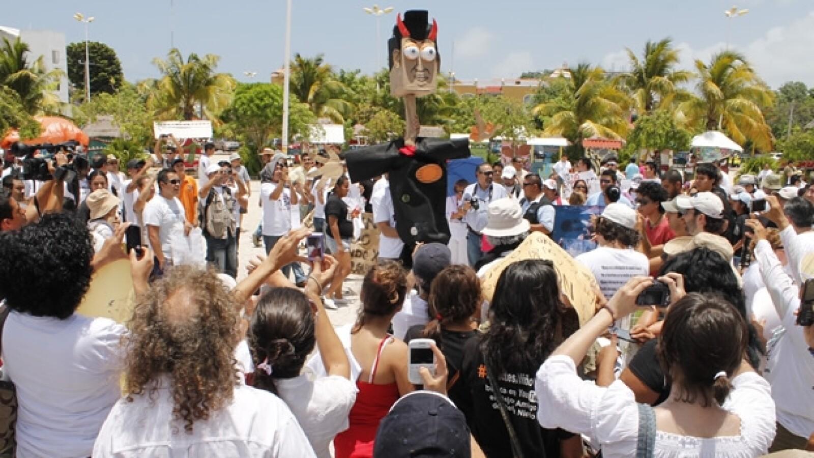 marcha anti peña nieto en cancún