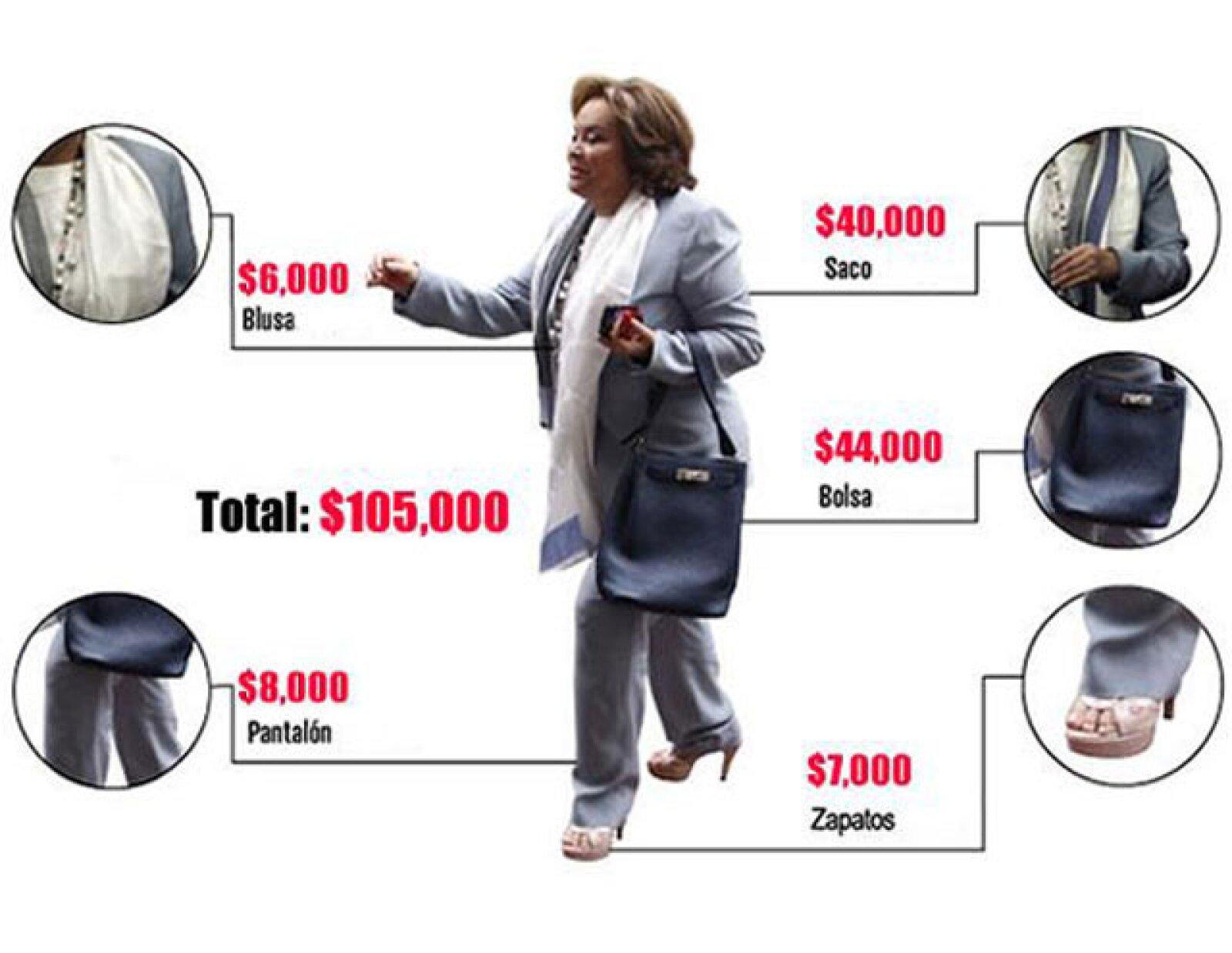 La reacción de ADNPolítico estimó que Elba Esther gastaba en un outfit diario poco más de 100 mil pesos.