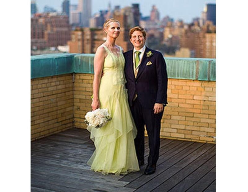 Cynthia Nixon se casó de verde.