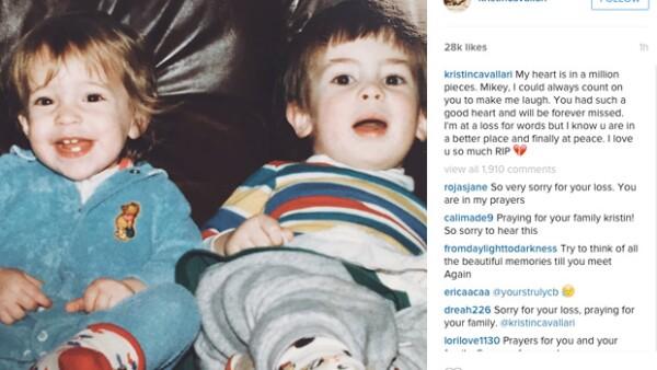 La actriz escribió un mensaje como tributo a su hermano Michael, quien fue encontrado sin vida tras dos semanas desaparecido.