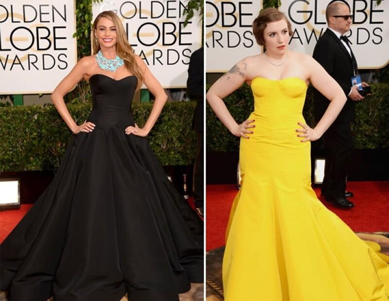 Sofía Vergara optó por un vestido negro que causó furor porque la actriz cambió su típico corte sirena y Lena Dunham de `Girls´ se atrevió a utilizar un vestido amarillo que no tuvo buena aceptación.