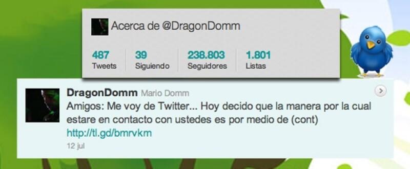 Mario Domm de un día a otro abandonó la red social.