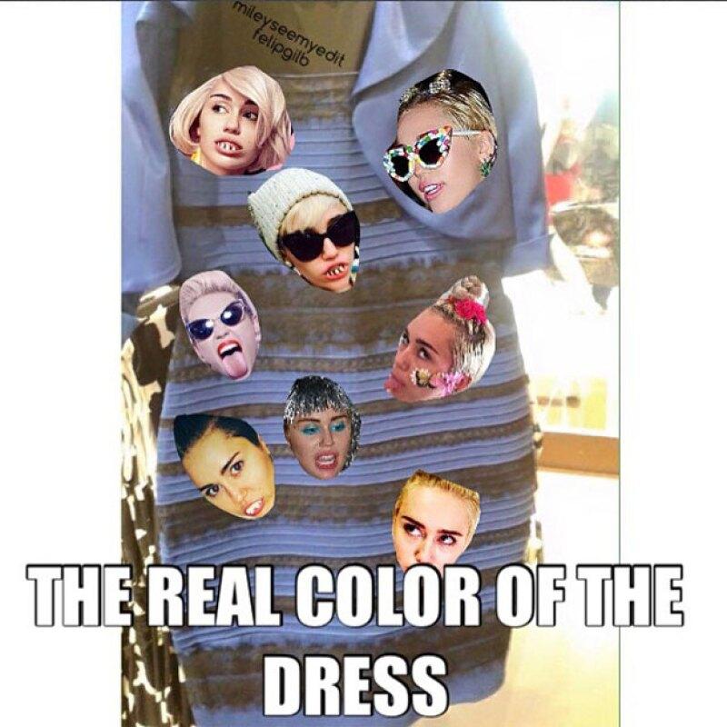Miley Cyrus hizo su propio meme, de acuerdo a los colores como en realidad se veían.