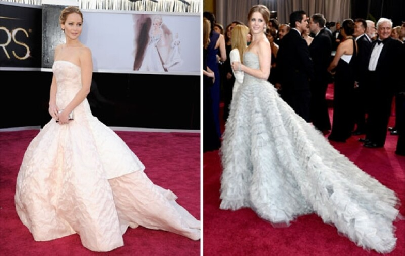 Jennifer Lawrence usó Dior Haute Couture y Amy Adams, Oscar de la Renta.