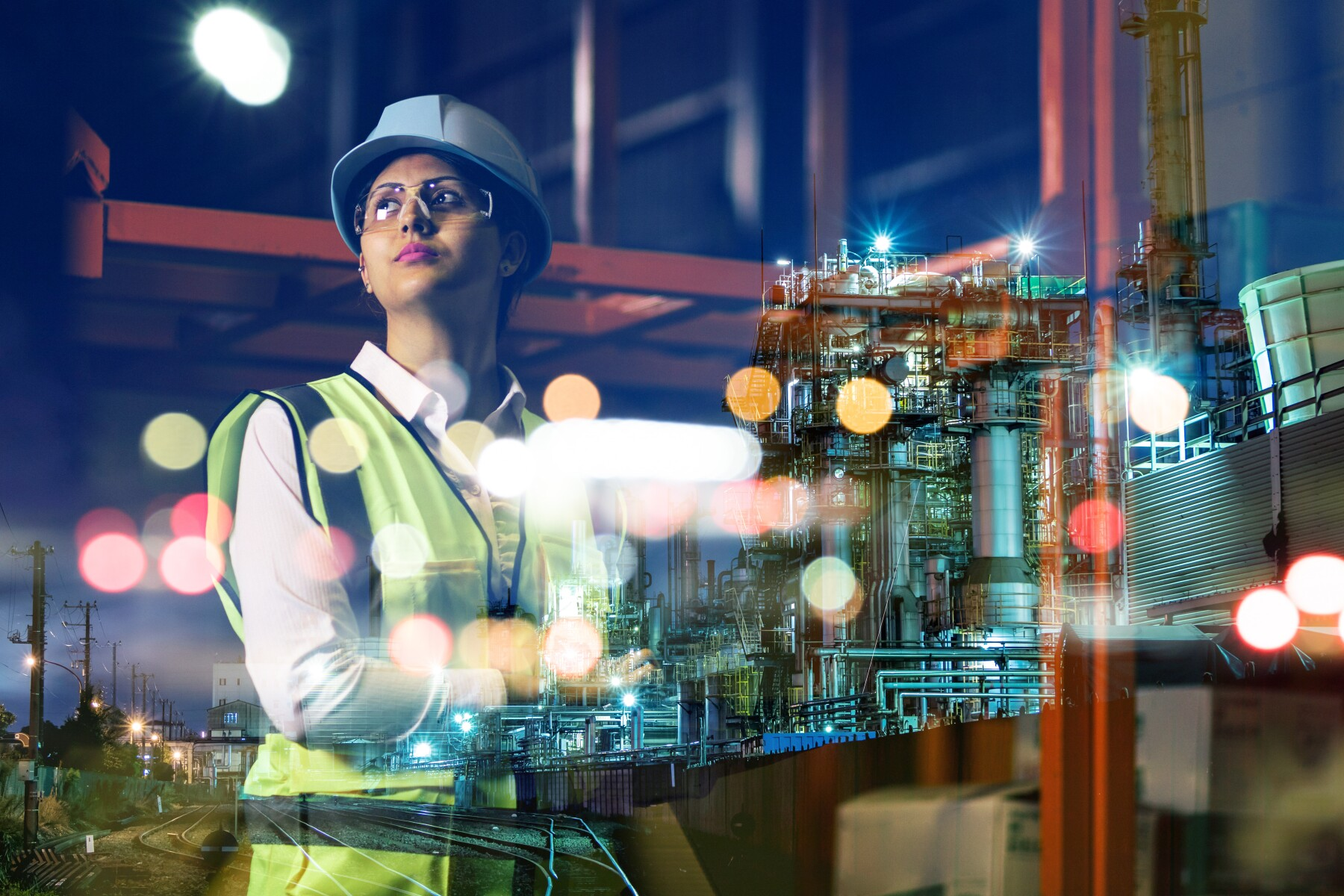 double exposure of woman labor and factory exterior. industrial technology concept.