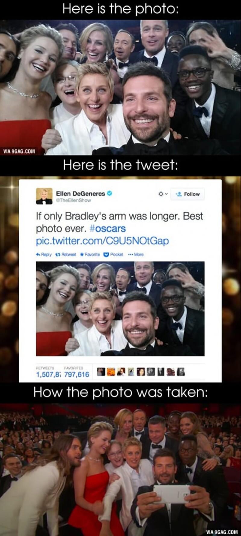 La selfie de Ellen Degeneres logró apoderarse de Twitter.