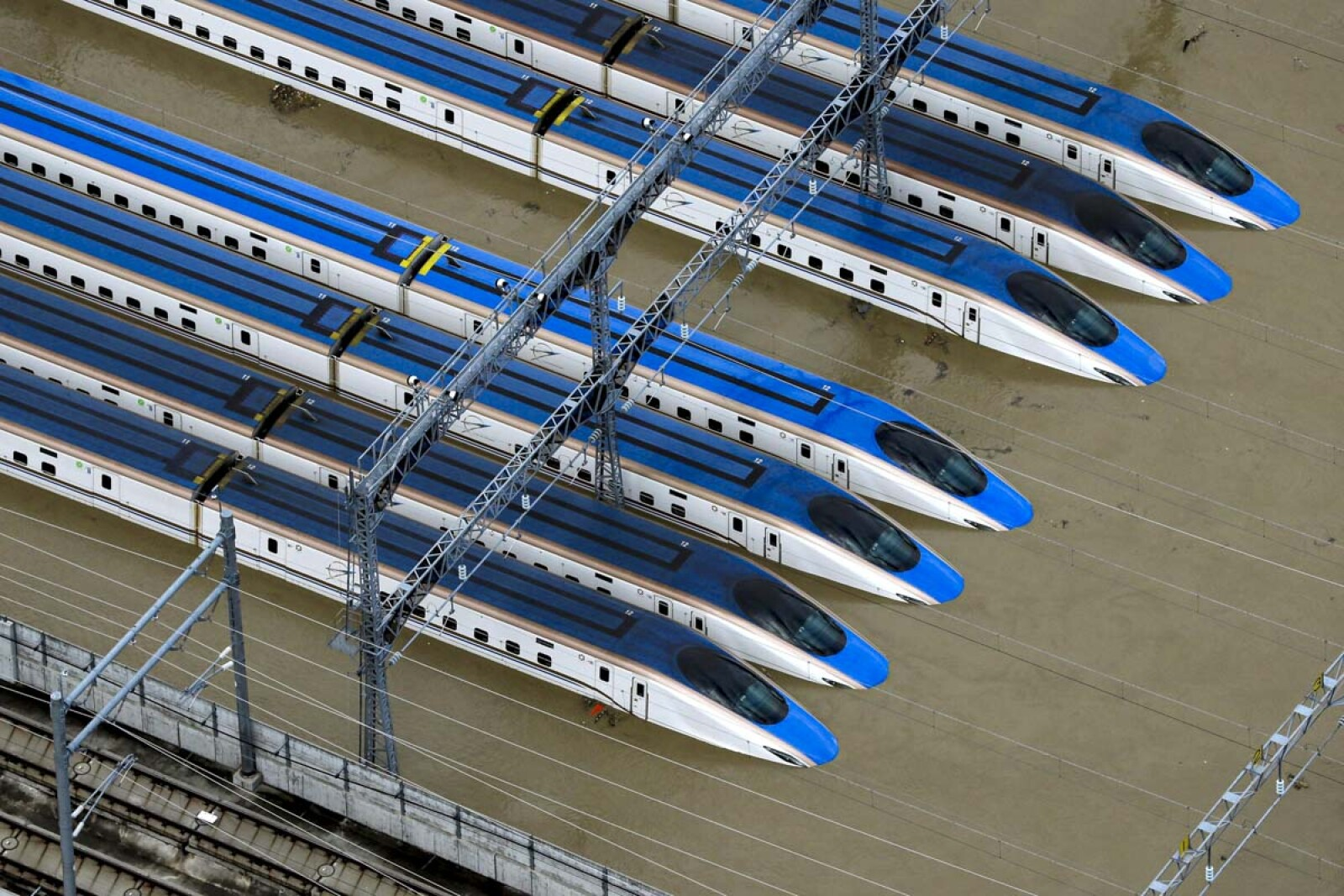 A flooded Shinkansen bullet train rail yard is seen following Typhoon Hagibis in Nagano