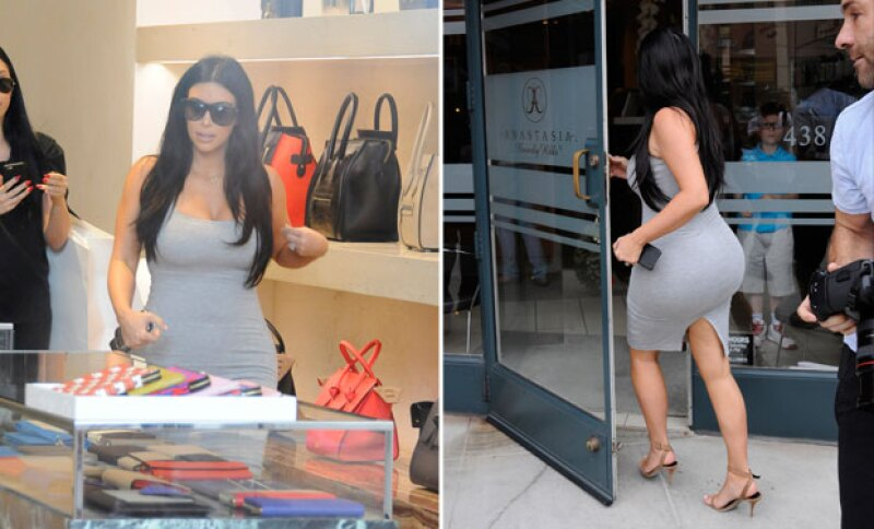 Kim dio un paseo por las calles de Rodeo Drive, donde visitó varias tiendas.