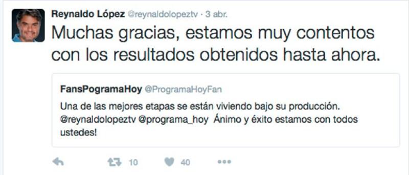 Esto ha sido lo que Reynaldo ha hablado en Twitter respecto a Hoy.