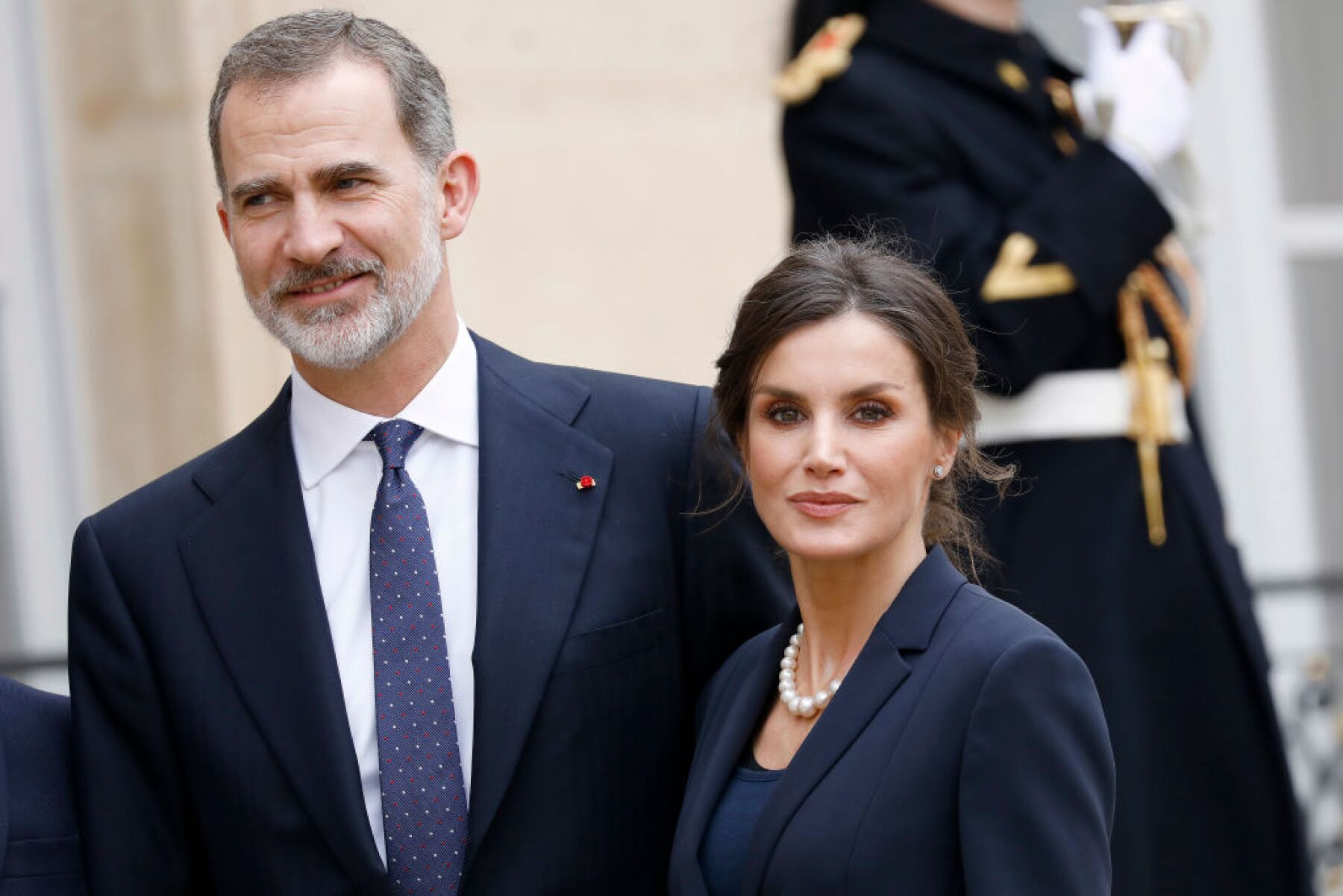 King Felipe and Queen Letizia Of Spain Are Receive By President And Brigitte Macron