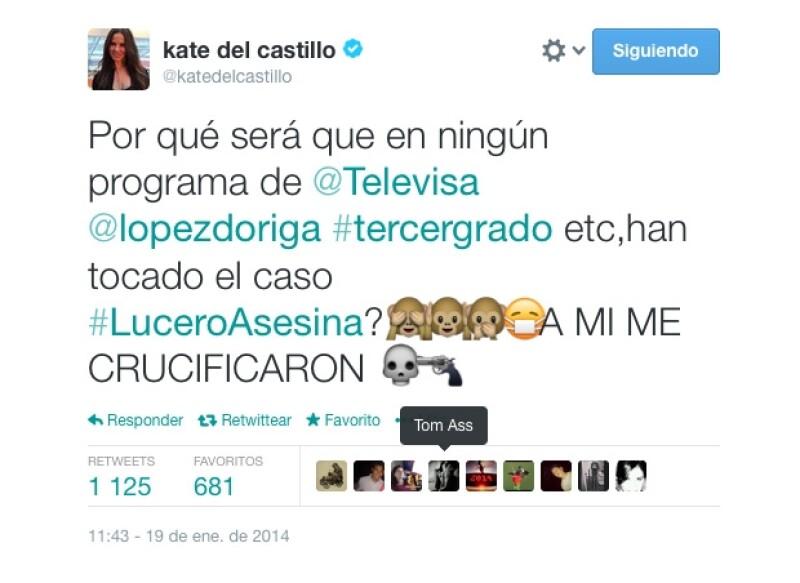 La actriz usó su cuenta de Twitter para preguntar los motivos que tendría la televisora para no mencionar las críticas que ha recibido Lucero tras las polémicas imágenes de su día de cacería.