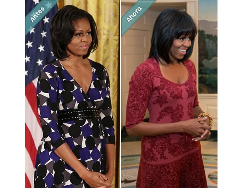 La esposa del presidente de Estados Unidos, Barack Obama, cumplió años presumiendo nuevo fleco y estilo alaciado.