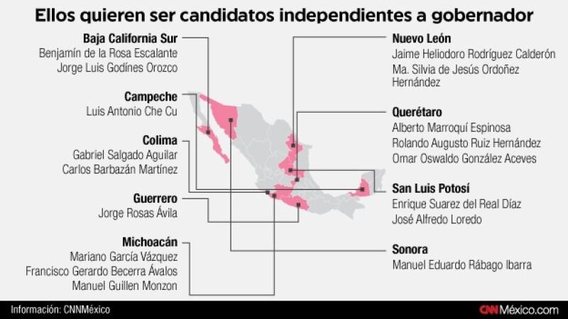 mapa, candidaturas independientes, gobernador, elecciones 2015