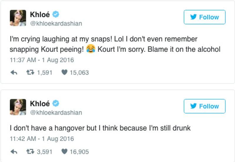 Khloé incluso tuiteó que no recuerda haber grabado a Kourtney en el baño.