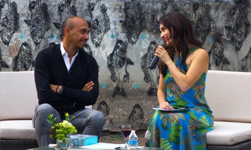 Amador Montes, artista y residente de la Fundación Veracruzana y Ana de la Reguera.