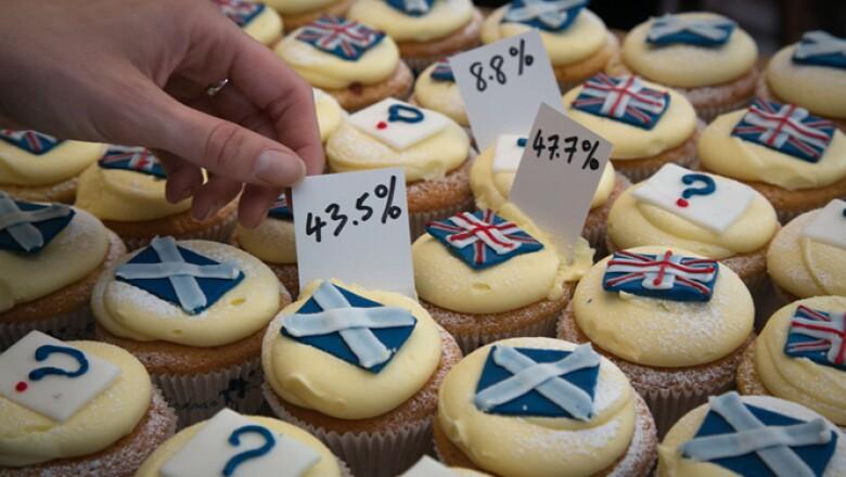 El debate ha llegado hasta los postres pues se han preparado cupcakes para reprentar los resultados de los reñidos sondeos sobre el referéndum.