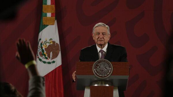 Andrés Manuel López Obrador, presidente de México durante la conferencia matutina que ofrece en Palacio Nacional.
