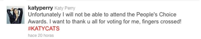 Katy no assitirá a los Peoples Choice Awards, pues se dice que viajará a Reino Unido a tratar de salvar su matrimonio.