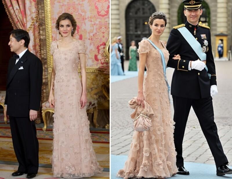 Letizia en su visita oficial a Japón y con Felipe durante la boda de Victoria de Suecia decidió repetir vestidos.
