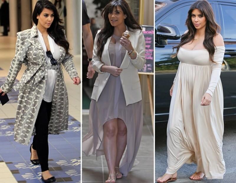 Cortes holgados y materiales vaporosos han favorecido el estilo de embarazada de Kim.