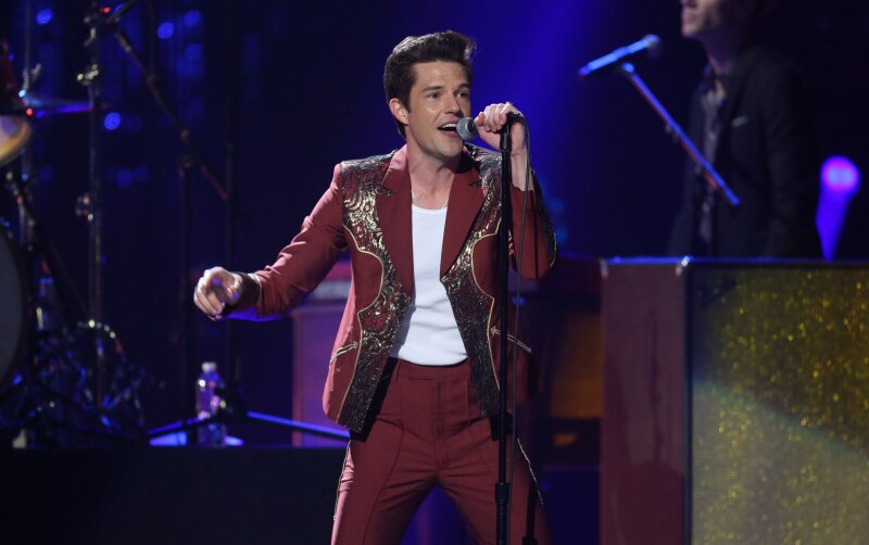 FILE PHOTO: Brandon Flowers of The Killers performs at a Rock & Roll Hall of Fame induction show in Cleveland, Ohio