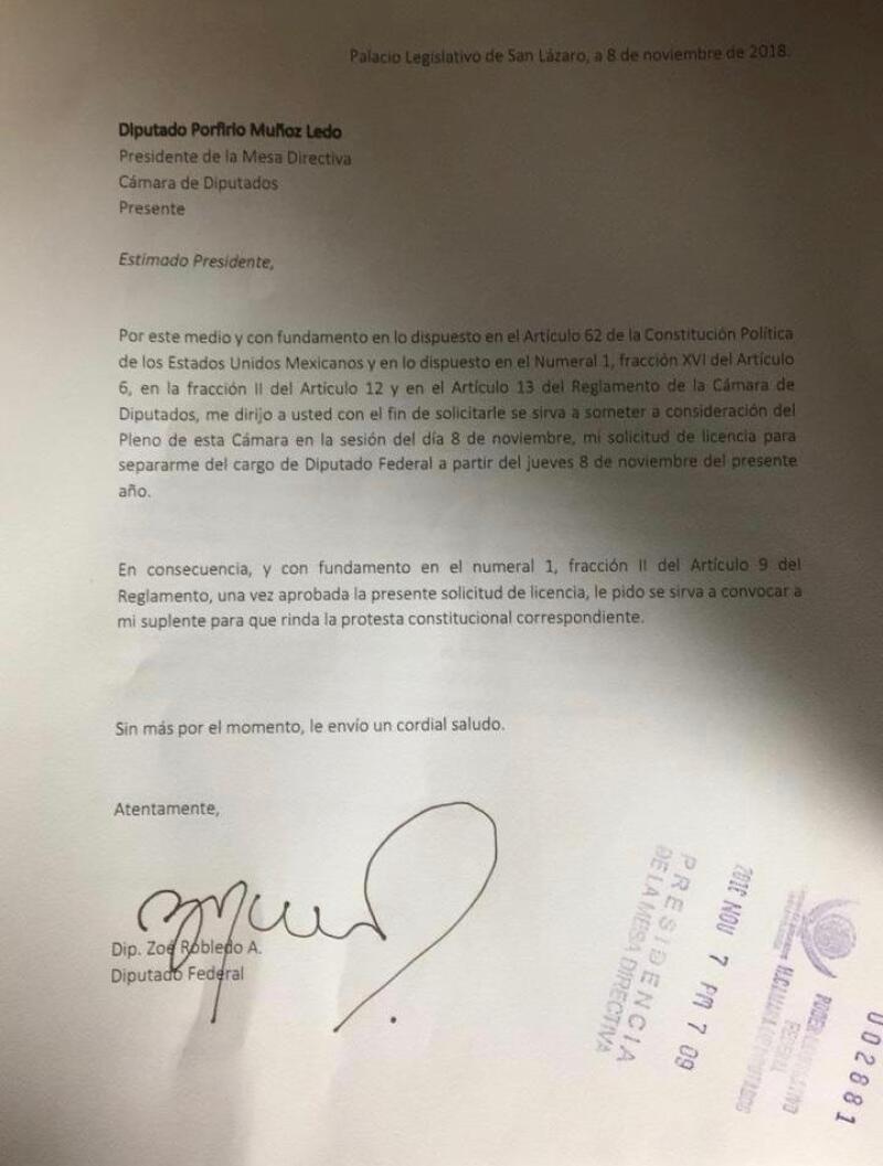 Carta Zoé Renuncia