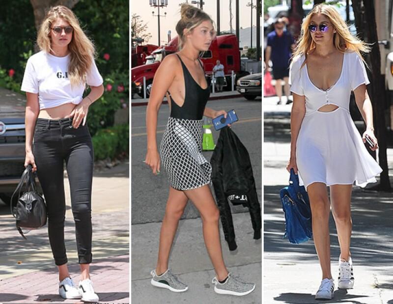 Gigi Hadid combina sus sneakers con todo.