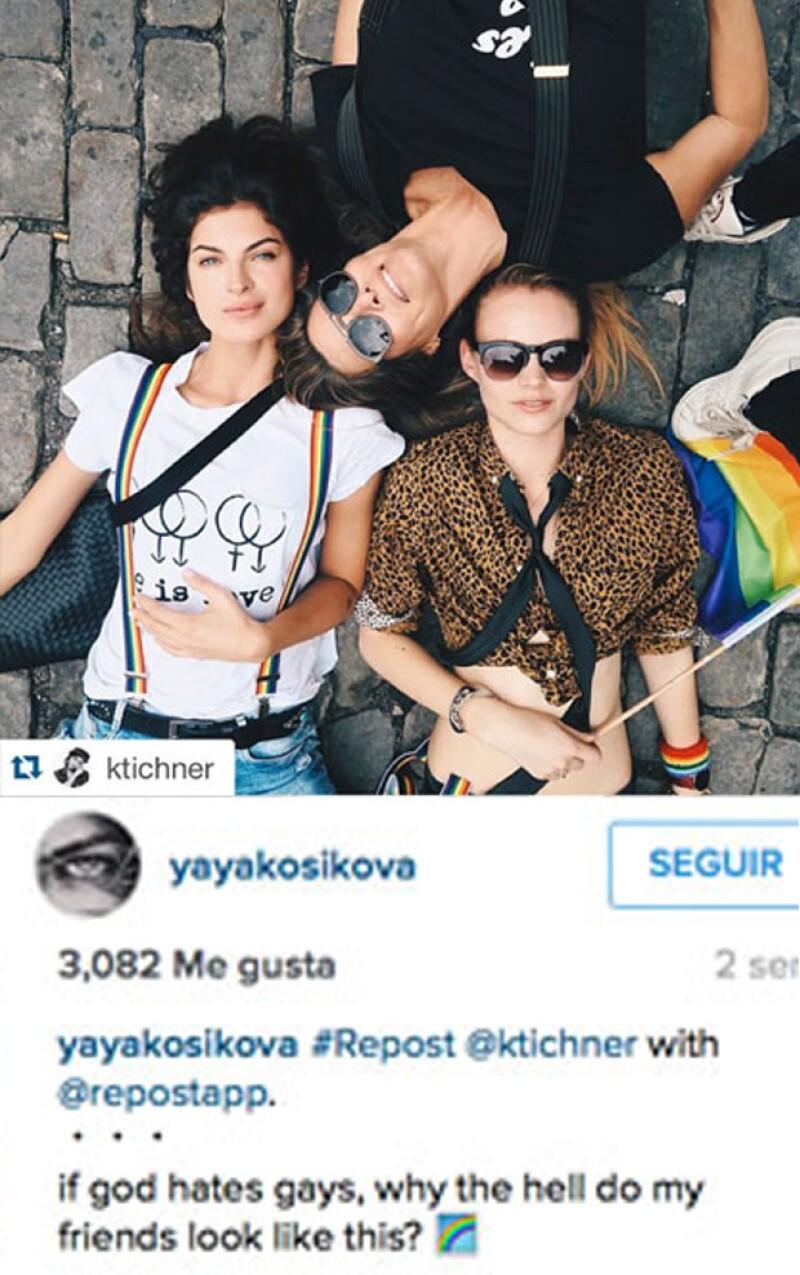 `Si Dios odia a los gays, entonces ¿por qué mis amigos se ven de esta forma?´, titularon esta fotografía que Yaya retomó de una de sus amigas.