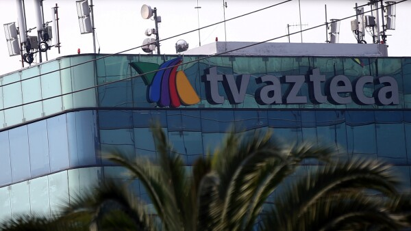 The logo of broadcaster TV Azteca is pictured at its headquarters in Mexico City