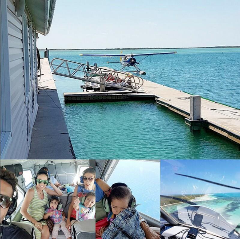 La familia disfrutó de un vuelo sobre el mar al mando de Martín Fuentes.